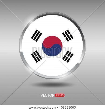 Shiny, glossy vector badge with South Korea flag