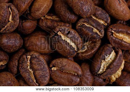 Closeup Roasted Whole Coffee Beans