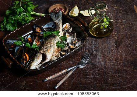 Fish Baked With Seafood