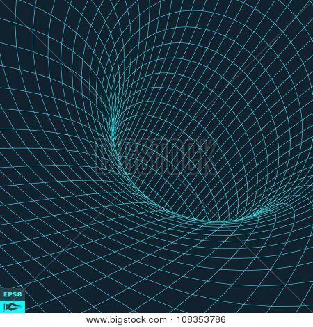 Abstract 3d Surface Looks Like Funnel. Futuristic Technology Style. Perspective Grid Background Texture. Vector Illustration.