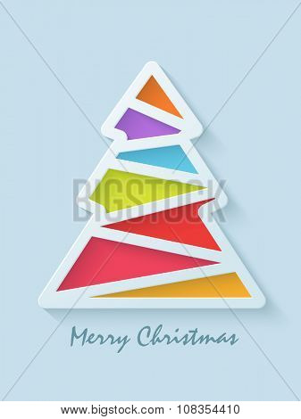 Stylish Flyer, Banner or Pamphlet with creative colorful Xmas Tree for Merry Christmas celebration.