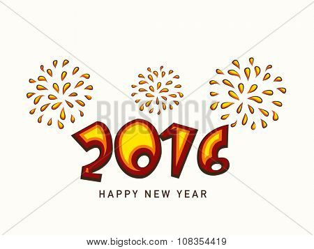 Colorful text 2016 on creative fireworks background for Happy New Year celebration.