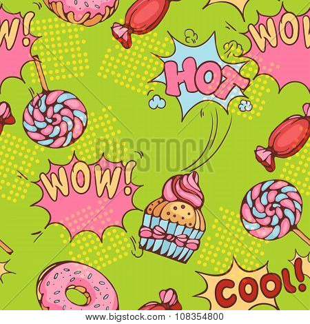 seamless pattern of donuts, candies and lollypops