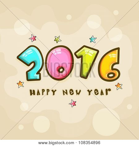 Greeting card design with stylish text 2016 on colorful stars decorated background for Happy New Year celebration.