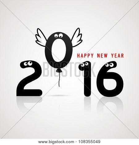 Stylish text 2016 with eyes on glossy grey background for Happy New Year celebration.