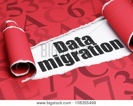 Data concept: black text Data Migration under the piece of  torn paper