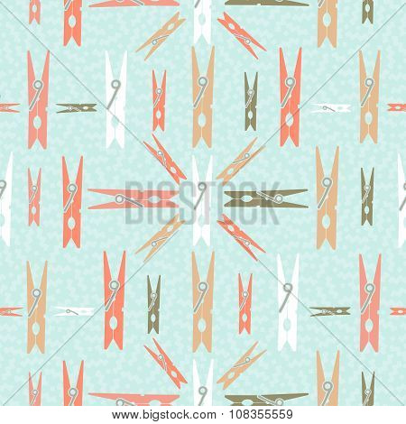 Clothespin Retro Seamless Pattern Shape Background