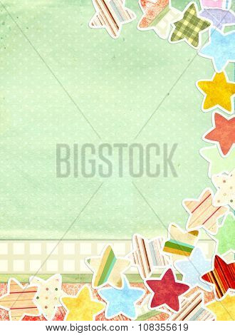 Christmas grunge background with paper stars