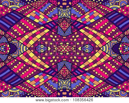 Zentangle Ethnic Background Colorful 2