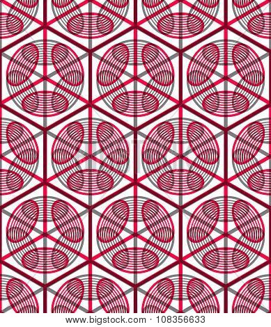Seamless Optical Ornamental Pattern With Three-dimensional Geometric Figures. Intertwine purple