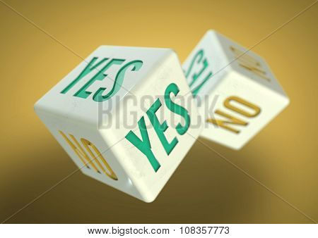 Two Dice Rolling. Yes No On Faces Of Dice. Concept For Making A Decision.