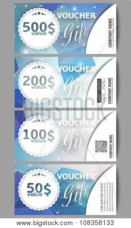 Set of modern gift voucher templates. Colorful triangle design, abstract vector background