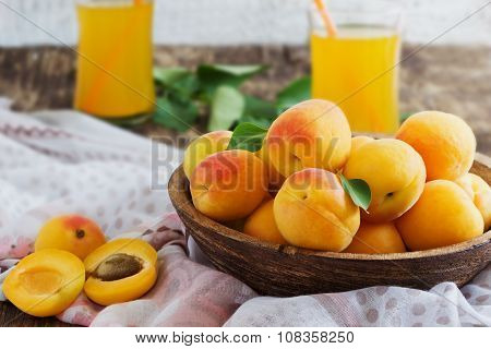 Ripe Apricots And Apricot Juice