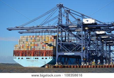 Container ship being unloaded at Felixstowe docks