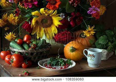 Still Life With A Bouquet Of Cultivated Flowers