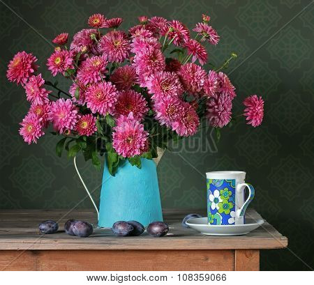 Still Life With A Bouquet. Chrysanthemums.