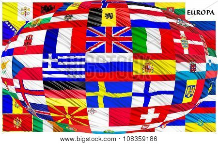 Collage Of The Flags Of European Countries