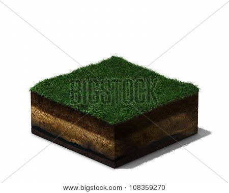 3d  section of land with grass and soil