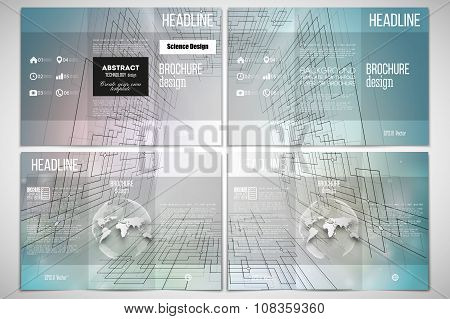 Set of tri-fold brochure design template on both sides with world globe element. Abstract vector bac