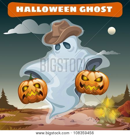 Ghost in cowboy hat with two evil pumpkins
