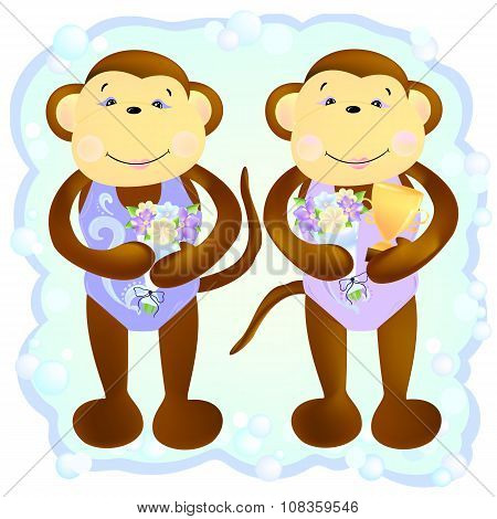 Monkey Duet Synchronous Swimmers