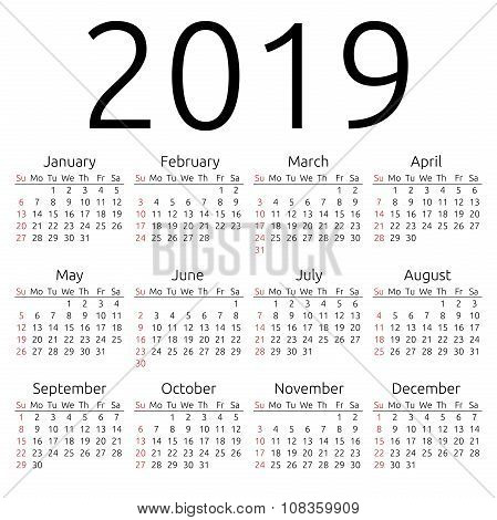 Vector Calendar 2019, Sunday