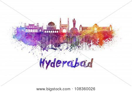 Hyderabad Skyline In Watercolor