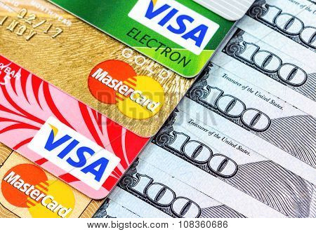 Visa And Mastercard, Credit, Debit And Electronic With Us Dollar Bills