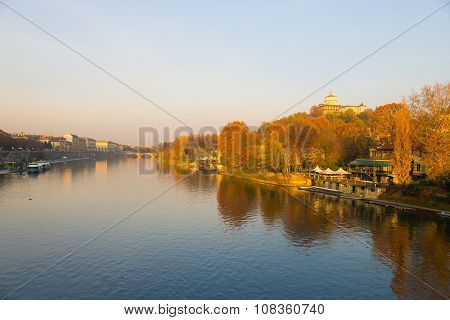 Turin (torino), Po River, Church On Hill And Colorful Trees
