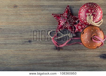 Various Christmas decorations. Christmas stars Jingle bells in various positions. Vintage decoration