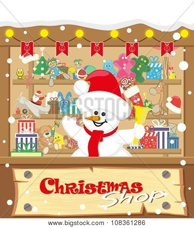 Vector Banner Christmas Shop Wih Snowman And Gifts, Toys, Dolls, Present Box And Lamp Garlands With