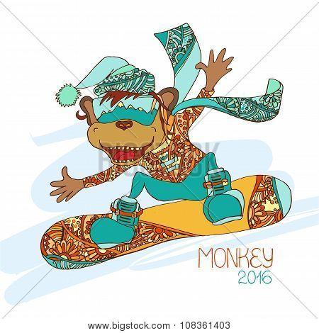 Funny Cartoon Monkey Snowboarder. Symbol Of The New Year 2016.