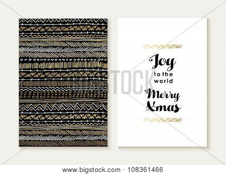 Merry Christmas Joy Card Set Pattern Gold Tribal