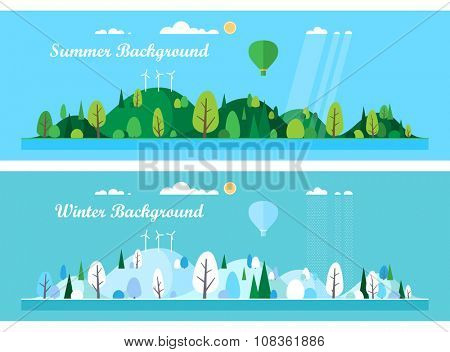 Vector flat illustrations - Eco style life. Abstract forest. Wildlife. Forest view.