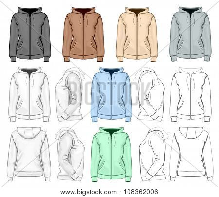 Women's hooded sweatshirt with zipper (back, front and side view). No mesh. Different variants: outlines, detailed and color. Vector illustration.