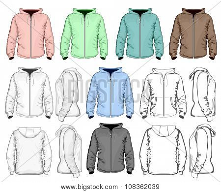 Men zip hooded sweatshirt. Detailed, outlines and color variants. Vector illustration