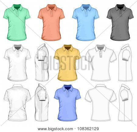 Men's short sleeved polo-shirt. Vector illustration.  Different variants: detailed, simple and color vector  illustrations.