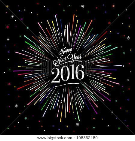 Happy New Year Card With Starburst Color
