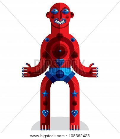 Vector Avant-garde Illustration Of Mythic Person, Pagan Symbol.  Modernistic Graphic Picture, Anthro