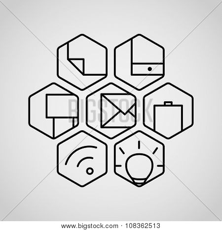 Different lineart icons set. Appication or web interface icons collection