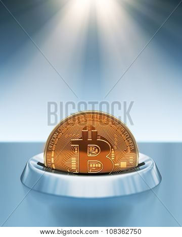 Putting Bitcoin Into Coin Slot In The Rays Of Light