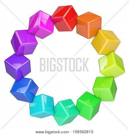 Abstract colorful cubes ring isolated on white background.