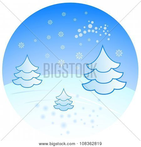 Winter scenery with fir trees illustration.