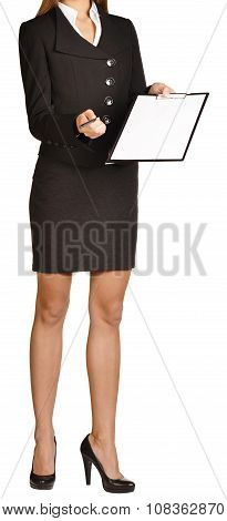 Woman headless holding a pen and clipboard. on white background