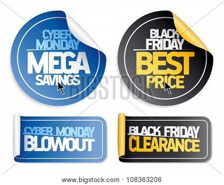 Syber monday and Black friday sale stickers set.
