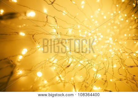 Lights Garland, Abstract Blurred Led Light, Yellow Defocused Lighting Perspective