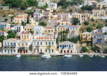 Greece. Island Symi. In Blur Style.