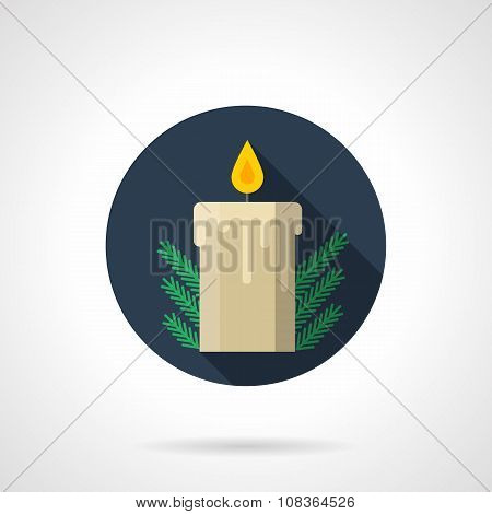 Round flat blue vector icon for Christmas candle