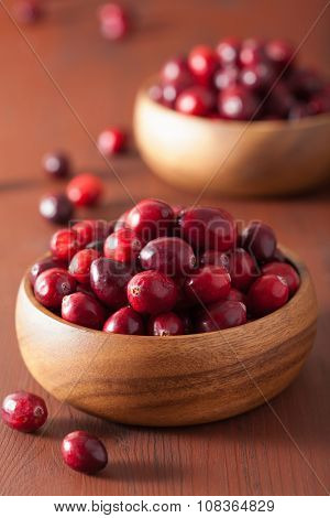 fresh cranberry in wooden bowls over rustic table