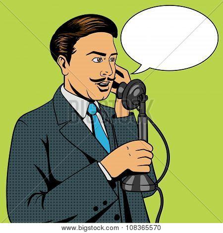 Man talking on the vintage phone vector